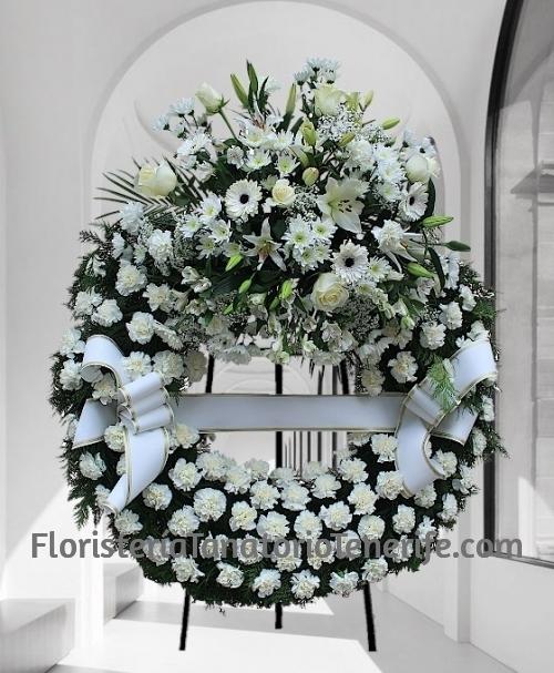 Corona funeraria blanca clavel para Tenerife