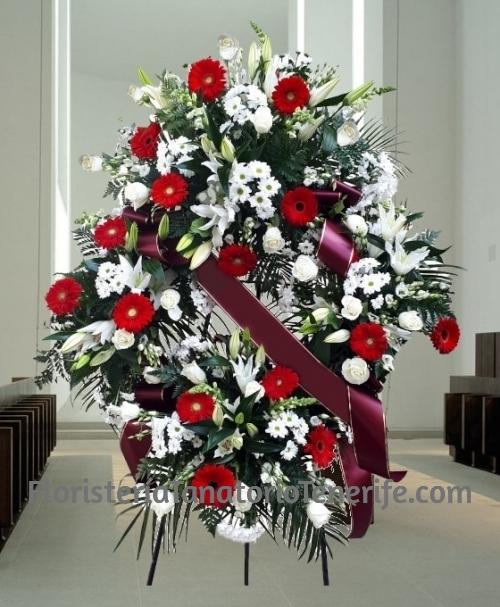 Corona funeraria flor variada para tanatorio