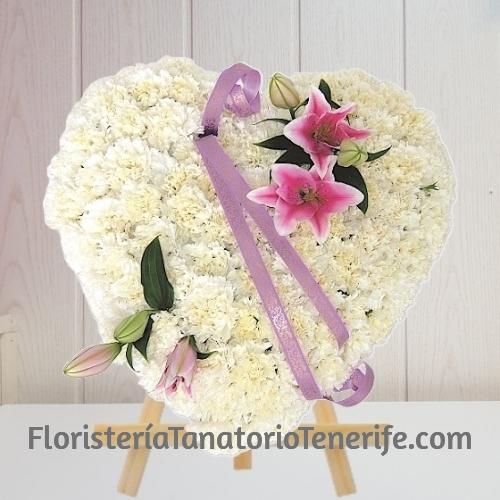 Corazón flores funerales en Tenerife